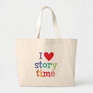 Amo las camisetas y los regalos de Storytime Bolsa Tela Grande