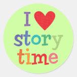 Amo las camisetas y los regalos de Storytime Etiqueta