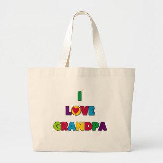 Amo las camisetas y los regalos del abuelo bolsa tela grande