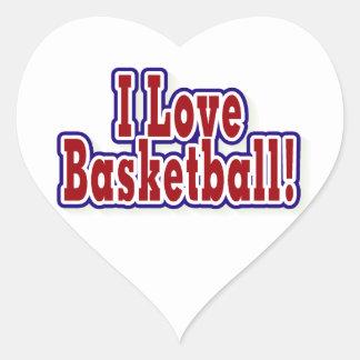Amo las camisetas y los regalos del baloncesto calcomanía de corazón personalizadas