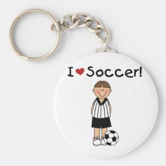 Amo las camisetas y los regalos del fútbol llavero redondo tipo pin