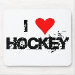 Amo las camisetas y los regalos del hockey alfombrillas de ratones