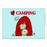 Amo las camisetas y los regalos que acampan tarjeta