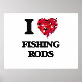 Amo las cañas de pescar póster