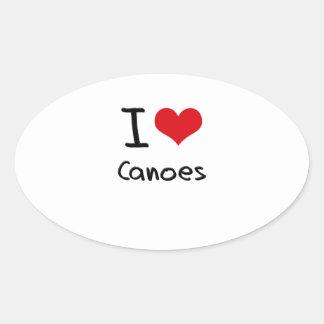 Amo las canoas pegatina óval