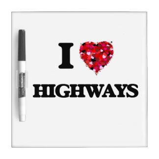 Amo las carreteras tablero blanco