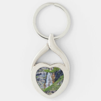 Amo las cascadas #1 - llavero - metal del corazón llavero plateado en forma de corazón
