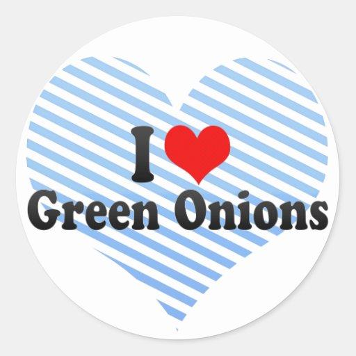 Amo las cebollas verdes pegatina redonda