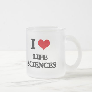 Amo las ciencias de la vida taza de cristal