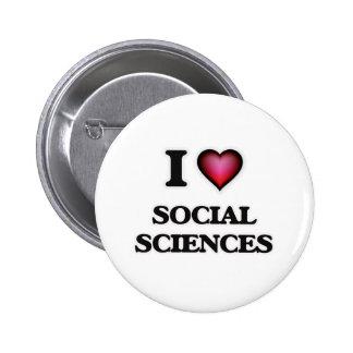 Amo las ciencias sociales pin redondo de 2 pulgadas