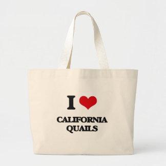 Amo las codornices de California Bolsa Lienzo
