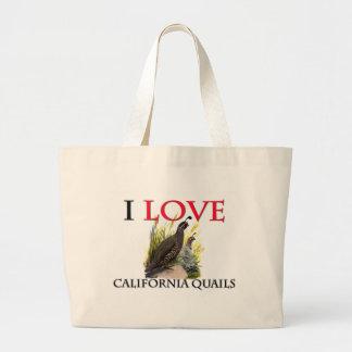 Amo las codornices de California Bolsa De Mano