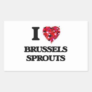 Amo las coles de Bruselas Pegatina Rectangular
