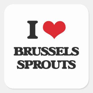 Amo las coles de Bruselas Pegatina Cuadrada