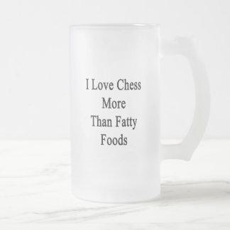 Amo las comidas más que grasas del ajedrez tazas de café
