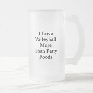 Amo las comidas más que grasas del voleibol tazas de café