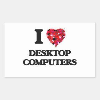 Amo las computadoras de escritorio pegatina rectangular