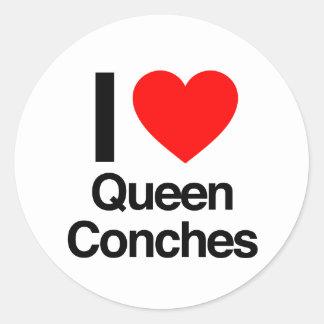 amo las conchas de la reina etiquetas redondas