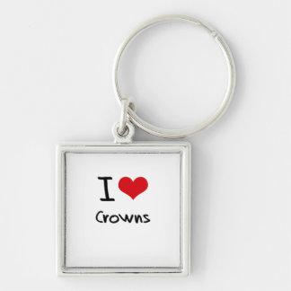 Amo las coronas llaveros personalizados