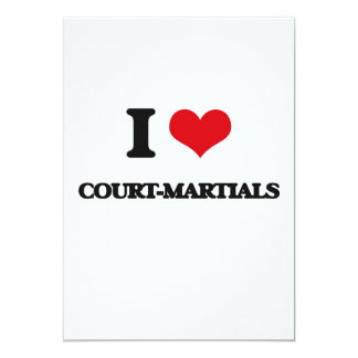 Amo las cortes marciales invitación 12,7 x 17,8 cm