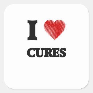 Amo las curaciones pegatina cuadrada