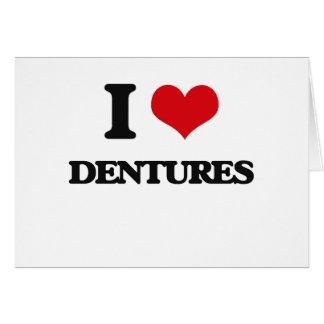 Amo las dentaduras tarjeta de felicitación