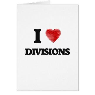 Amo las divisiones tarjeta de felicitación