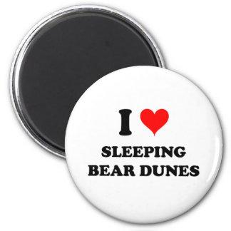 Amo las dunas Michigan del oso el dormir Imán Redondo 5 Cm