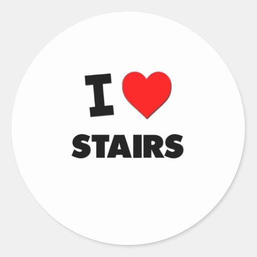 Amo las escaleras etiqueta redonda
