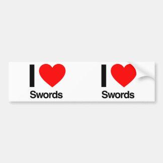 amo las espadas etiqueta de parachoque