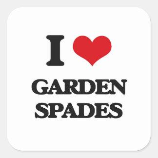 Amo las espadas de jardín calcomanía cuadrada personalizada