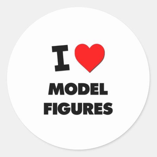 Amo las figuras modelo pegatina redonda