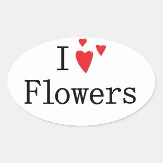 Amo las flores pegatina ovalada