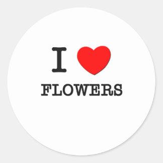 Amo las flores pegatina redonda