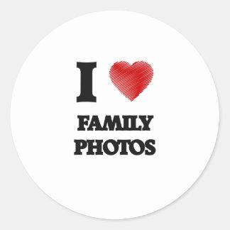 Amo las fotos de familia pegatina redonda