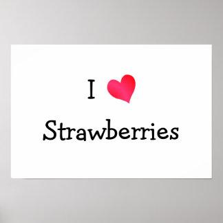 Amo las fresas póster