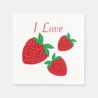 Amo las fresas servilletas desechables