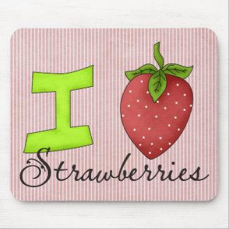 Amo las fresas tapete de ratón