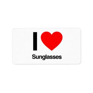 amo las gafas de sol etiqueta de dirección