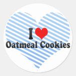 Amo las galletas de harina de avena pegatinas redondas