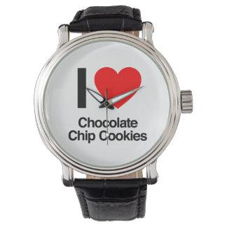 amo las galletas de microprocesador de chocolate relojes de mano