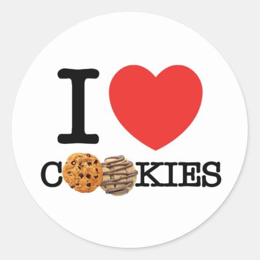 Amo las galletas pegatina redonda
