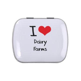 Amo las granjas lecheras jarrones de dulces
