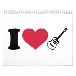 Amo las guitarras acústicas calendarios