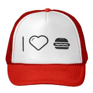 Amo las hamburguesas de Larges Gorros Bordados