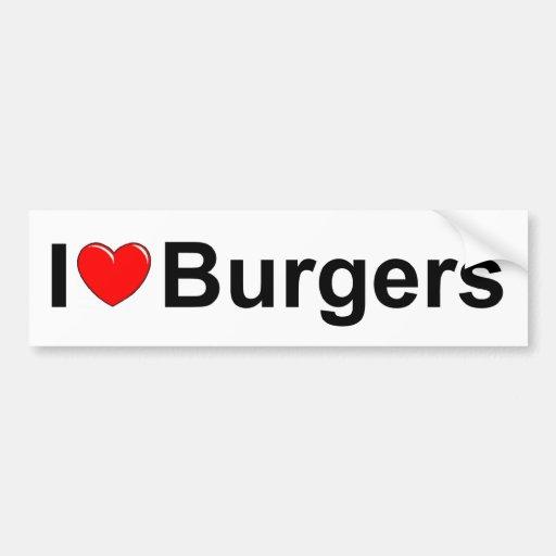 Amo las hamburguesas (del corazón) pegatina de parachoque