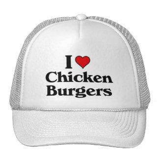Amo las hamburguesas del pollo gorra