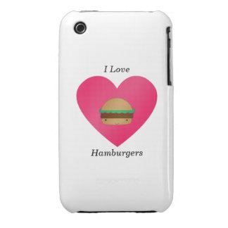 Amo las hamburguesas iPhone 3 Case-Mate coberturas