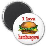 Amo las hamburguesas imán de frigorífico