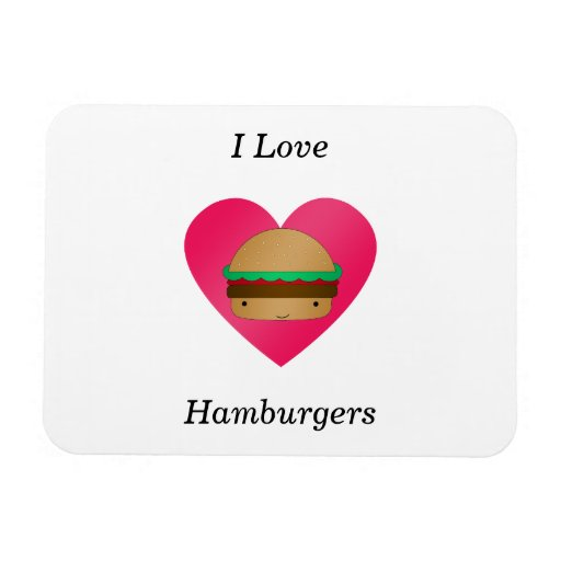 Amo las hamburguesas iman flexible